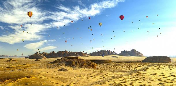 Hegra is also the site for the stunning Winter at Tantora Hot Air Balloon Festival which takes place in the skies above every year. (hyserb / Adobe Stock)