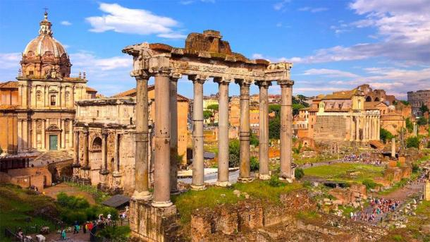 Part of the Roman Forum. (dragomirescu /Adobe Stock) The piece of marble may have been taken from this site.
