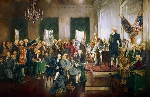 Having been one of the most powerful men of medieval England, the de Clare name would soon be extinguished. Surprisingly enough, his ancestors made it all the way to colonial America. None other than George Washington, the First President of the United States who can be seen in the image presiding at the Constitutional Convention of 1787, is descended from the de Clare family. (Public domain)