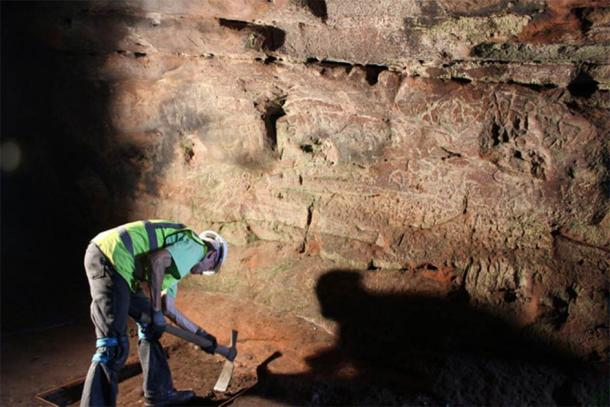 Court Cave is one of the best preserved of the Wemyss Caves. Legend has it that it was used as a court by one of the McDuff lairds. One of its walls, filled with Pictish symbols, can be seen here during excavations. (The Scape Trust)