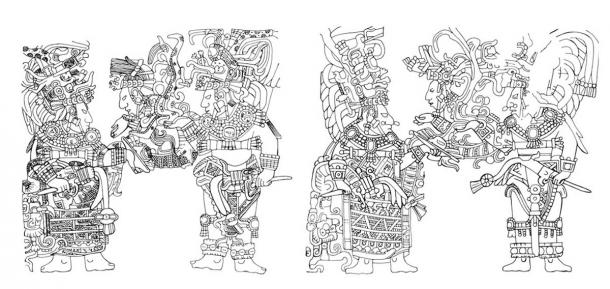 Two doorway supports, Lintels 13 and 14, placed side by side, from the ancient Maya archaeological site of Yaxchilan, Mexico. Looking between the two lintels reveals many animations, such as Lady Chak Chami being animated to tilt a bowl up towards the sajal (lord) Bird Jaguar IV. (Chinchilla Mazariegos: 2017)