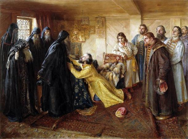Tsar Ivan the Terrible asks hegumen Kornily to admit him as a monk in the monastery after feeling incredible remorse for murdering Saint Cornelius. (Klavdy Lebedev / Public domain)