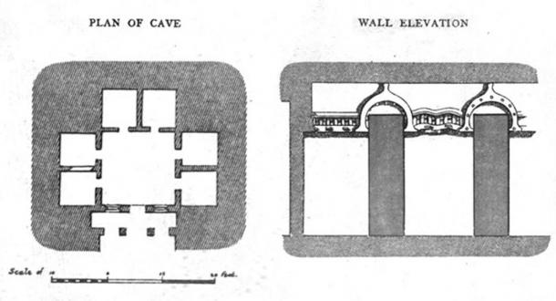 Plan and elevation of the Kanha Cave vihara in the Nasik Caves, first century BC, which is regarded as one of the earliest in India. (Public Domain)