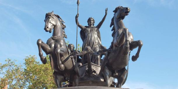 Monument dedicated to the famous Celtic Queen Boudicca in London, England. Her face can be found on many Celtic gold and silver stater coins. (Claudio Divizia / Adobe Stock)