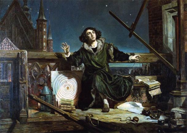 Nicolaus Copernicus observing the heavens in this 19th century AD painting. (Jan Matejko / Public domain)