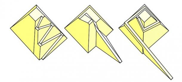 Three different pyramid ramp proposals, by Uvo Hölsher (left), Dieter Arnold (center) and Mark Lehner (right). (Althiphika / CC BY-SA 3.0)
