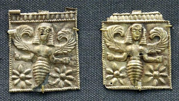 Gold plaques embossed with winged bee goddesses found at Camiros, Rhodes, dated to seventh century BC. British Museum. (Public Domain)