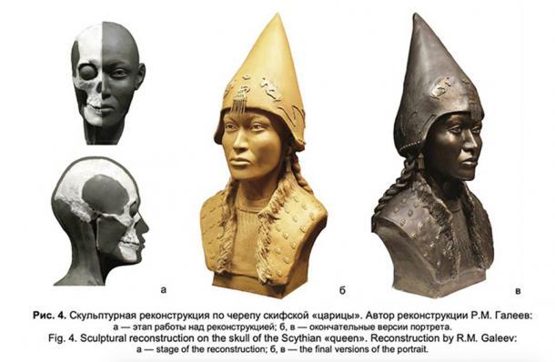 """The reconstruction of the female Scythian Empire """"Queen's"""" face from her skull. (E. V. Veselovskaya)"""