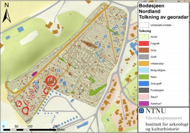 An interpretation of the georadar data from the snow-covered fields of Bodøsjøen in Norway, showing the burial mounds and other remains. (NTNU University Museum)