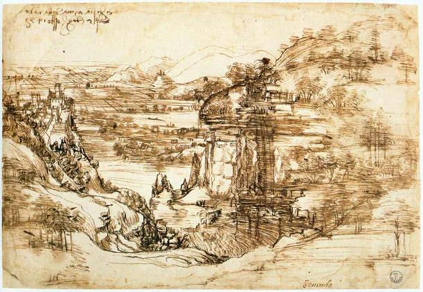 Landscape of the Arno Valley by Leonardo Da Vinci (1473). (Public Domain)