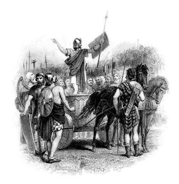19th-century print depicting Calgacus delivering his speech to the Caledonians. (Public Domain)