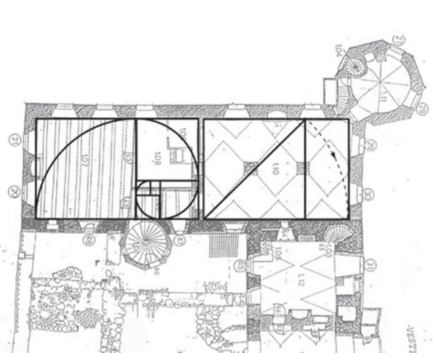 Geometry is demonstrated in the ground floor of the 'new' southern wing of the castle. The Golden Section was used for the eastern end hall, and another proportion for the other end. This format is still used today in papers following the 'A' format (e.g. A4 paper). (Author provided (underlying drawing by architects Kjaer & Richter))