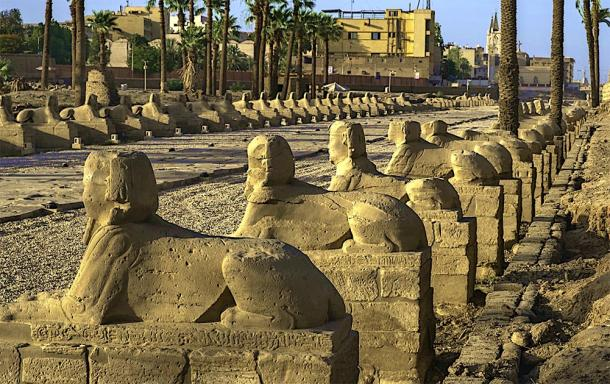 The avenue of sphinxes on the road from Karnak Temple to Luxor Temple, Egypt, where the ritual journey of the Opet Festival took place. (tynrud / Adobe stock)