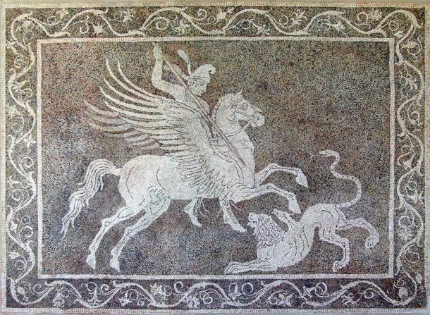 A pebble mosaic depicting Bellerophon's battle with the Chimera, Rhodes Archaeological Museum.          (Speravir / Public domain)