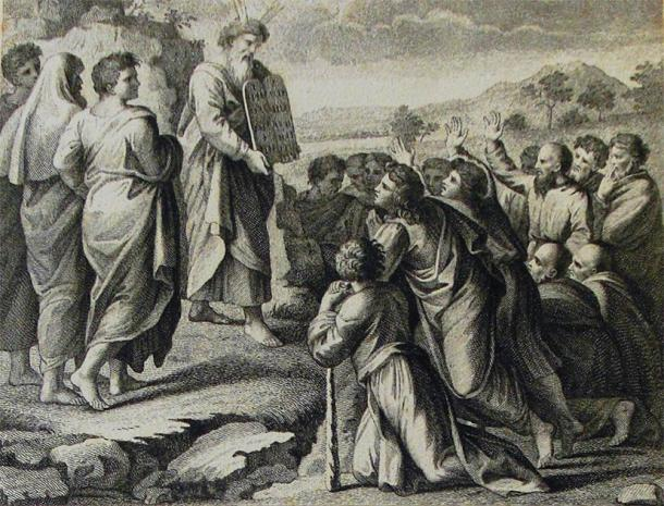 Moses Descends from Mount Sinai; A print from the Phillip Medhurst Collection of Bible illustrations in the possession of Revd. Philip De Vere at St. George's Court, Kidderminster, England. (Philip  De Vere / CC BY-SA 3.0)