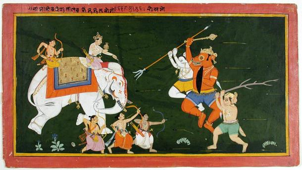 Indra on his elephant attacked by demons (Public Domain)