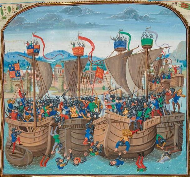 Battle of Sluys (15th century) by Jean Froissart. (Public Domain)