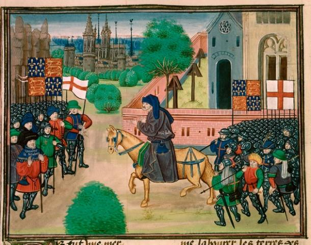 Illustration of the persecuted priest John Ball encouraging Wat Tyler's rebels to join the Peasants' Revolt in 1381. From a 1470s manuscript of Jean Froissart's Chronicles. (Public domain)