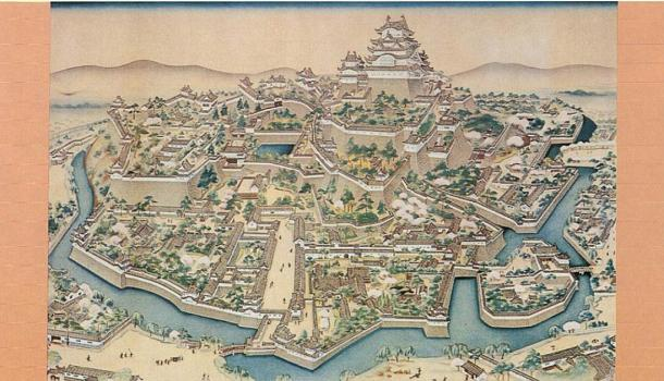 Old painting of the Himeji Castle complex in the Edo period (Public domain)