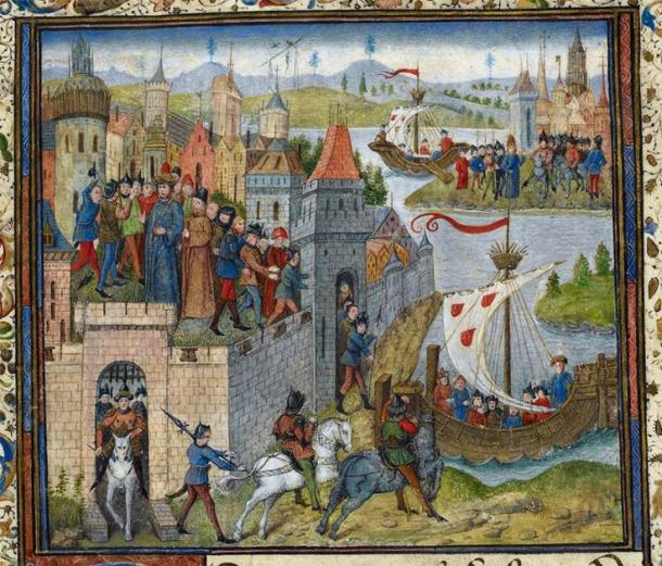 Detail of a miniature of the arrival of Duke Rollo in Normandy, with the city of Rouen on the left. (Public domain)