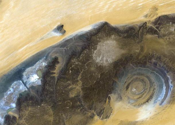 The Richat Structure from Landsat satellite. Elements of this image furnished by NASA. (voran /Adobe Stock)