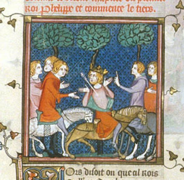 William Rufus is said to have been killed by an arrow while hunting, his death depicted in this 14th century manuscript. (Public Domain)