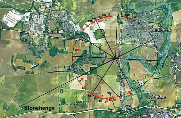 Overlay of Type D with Durrington Shafts. Caption: Thom's Type D flattened circle overlaid on the positions of the Durrington Shafts (marked in red). Note the extension through the y axis west-southwestwards to the center of Stonehenge. (Image: Rodney Hale/Andrew Collins/Google Earth)