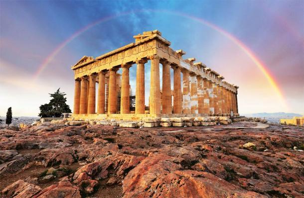 Muchos afirman que la fachada del Partenón, parte de la Acrópolis de Atenas, se diseñó utilizando la proporción áurea. (TTstudio / Adobe Stock)