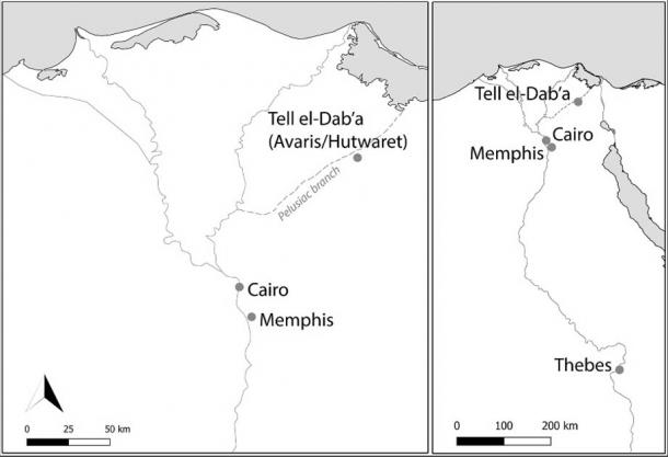 Map showing location of Tell el-Dab'a in Egypt's eastern Delta. (Chris Stantis et. al. / PLOS)