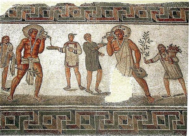 Tunisian mosaic of slaves carrying wine jars. (Pascal Radigue / CC BY 3.0)