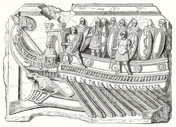 Reproduction of antique Roman bas-relief found in Palestrina (Praeneste) Rome depicting a roman legion on board of a trireme, war vessel. (Mannaggia /Adobe Stock)