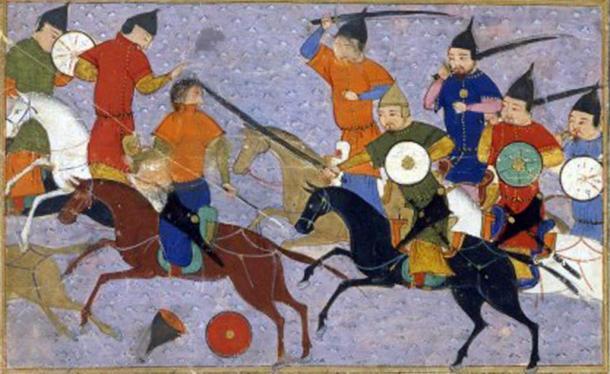 Battle between Mongols & Chinese (1211). Jami' al-tawarikh, Rashid al-Din. (Public Domain)