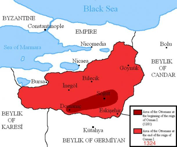Map showing the area of the Ottoman Empire during the reign of Osman I. (Удивленный1 / CC BY-SA 3.0)