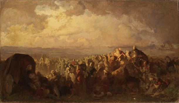 The Battle of Bråvalla by August Malmström. This battle saw the use of mercenaries and allies from all over the North of Europe: from Slavs, Irish, Frisians, and Norwegians, and of course, the Curonians. (Public domain)