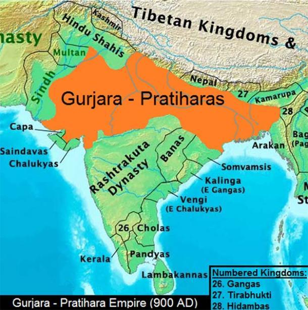 Gurjara Pratihara Empire in 900 AD. (Thomas Lessman / CC BY-SA 3.0)