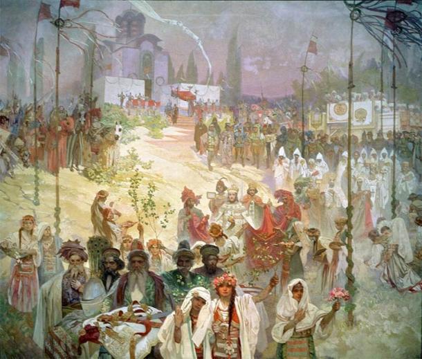 The coronation of Serbian Tsar, Štěpán Dušan. (Public domain)