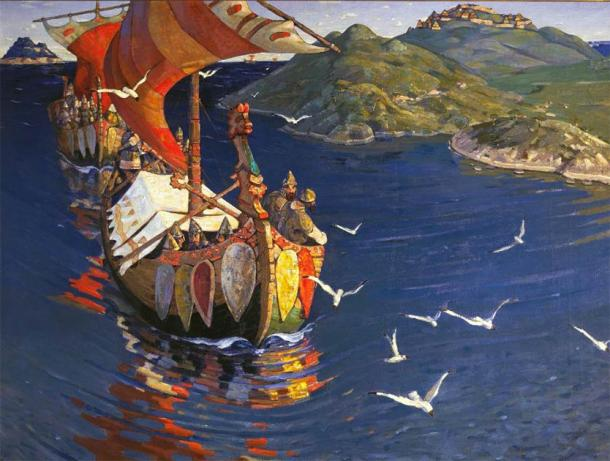 """Nicholas Roerich """"Guests from Overseas"""". From the series """"Beginnings of Russia. The Slavs."""" 1901. (Public Domain)"""