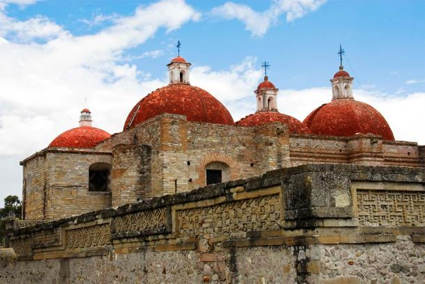 The Church of San Pablo built on and from the ancient ruins the Spanish destroyed at Mitla. (Noradoa / Adobe Stock)