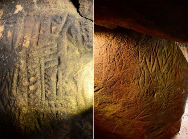 Left; Left side wall at the dead-end of the linear chamber representing anthropomorphic figures. Image © EASL | CCF-Polonnaruwa. Right; Left side wall at the dead-end of the linear chamber representing anthropomorphic figures. Image © EASL | CCF-Polonnaruwa