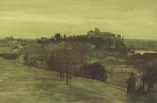 The Aventine as seen from the Palantine, by Walter T Crane. (Public domain)