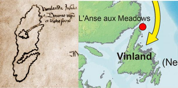 Left;Focus on Vinland on the Vinland map. (Public domain) Right; Focus on Vinland on a modern map (CC BY-SA 2.5)