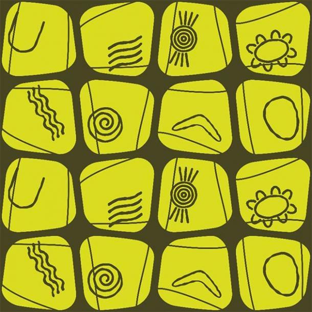 Examples of some of the many symbols of Australian aboriginal art. (drutska / Adobe Stock)