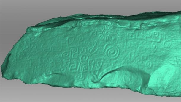 A 3D scan of the Peruvian monolith is shown in light green contrast. The contrast allows details to be seen that were harder to make out in the monolith's true color. (Daniel Fernandez-Davila / Exact Metrology)