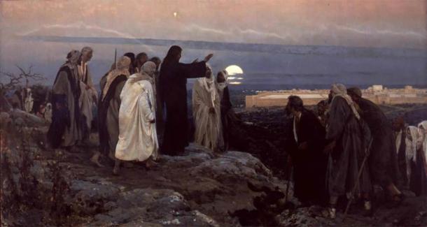 """""""Jesus weeps over Jerusalem"""" by Enrique Simonet (1892). (Public Domain)"""