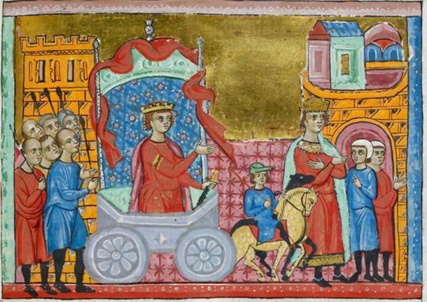 Miniatura enmarcada del rey Jugurtha que desfilaba por Roma como prisionero (izquierda), mientras que el rey Boctus hace las paces con los romanos (derecha). (Dominio público)