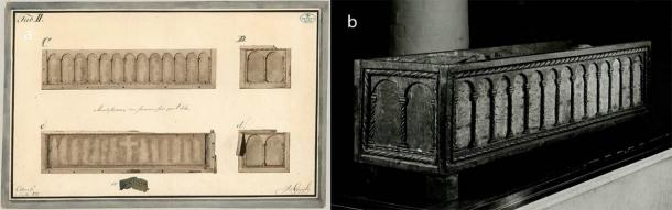 """The other wooden reliquary that contained some of the Viking burial textiles, which is has """"columns"""" along the sides of the casket. (The National Museum of Denmark)"""