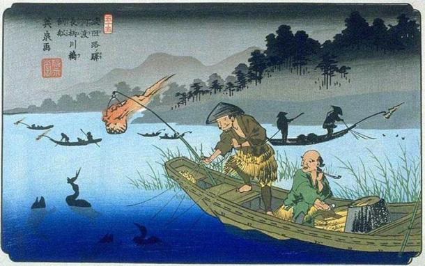 Keisai Eisen's print of cormorant fishing on the Nagara River during the Edo period. (Public Domain)