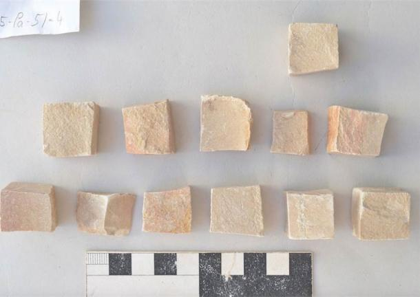 Close-up image of some of the tesserae mosaics discovered in the trough at the House of the Tesserae in 2017. (The Danish-German Jerash Northwest Quarter Project)