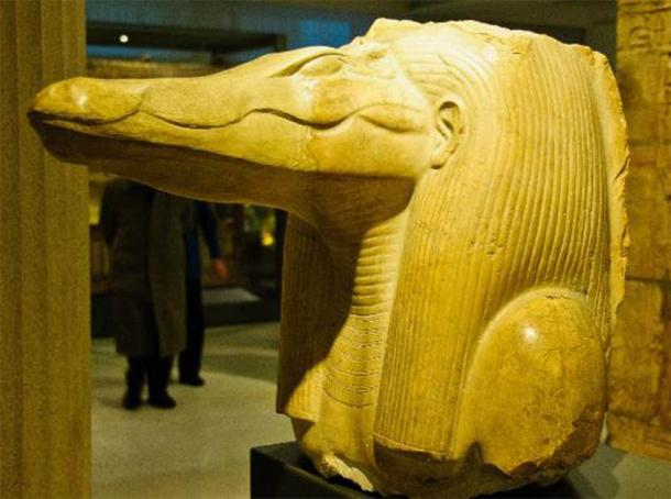 Head of the crocodile god from the site of the Labyrinth at Hawara. It dates to the reign of Amenemhat III. Credit: Wiki Commons Agreement, 2020.