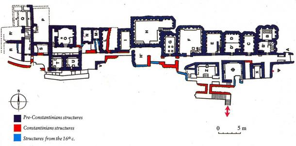 Mausoleums in the Vatican necropolis with temporal classification of the buildings, with the P area shown in the upper left. (Mogadir / CC BY 3.0)